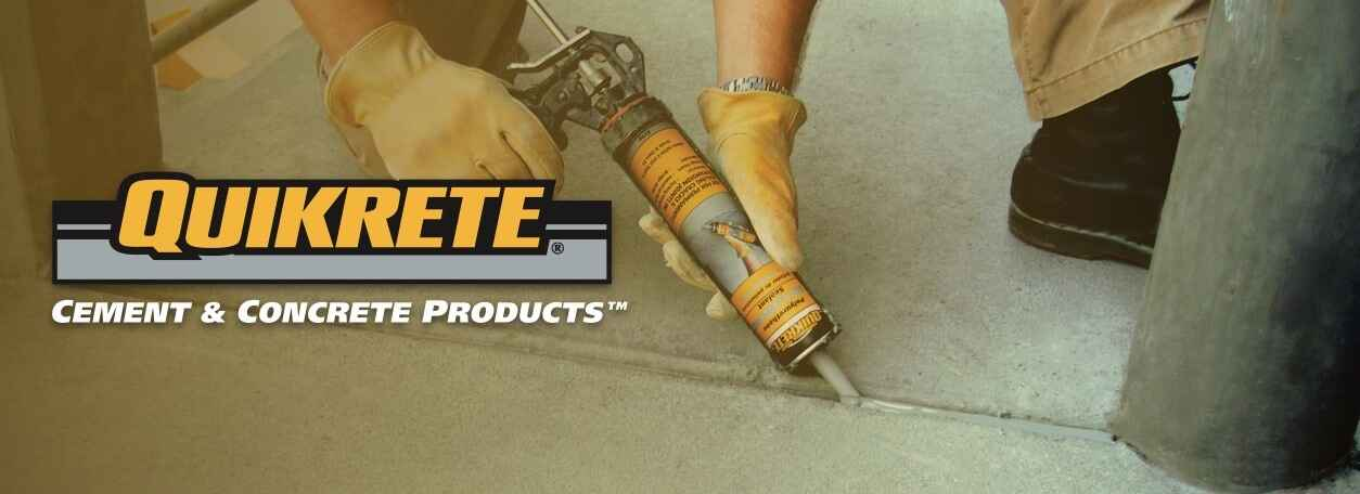 Quikrete logo with person applying concrete filler