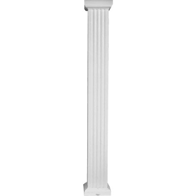 Crown Column 8 In. x 9 Ft. White Powder Coated Square Fluted Aluminum Column