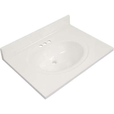 Modular Vanity Tops 31 In. W x 22 In. D Solid White Cultured Marble Vanity Top with Oval Bowl